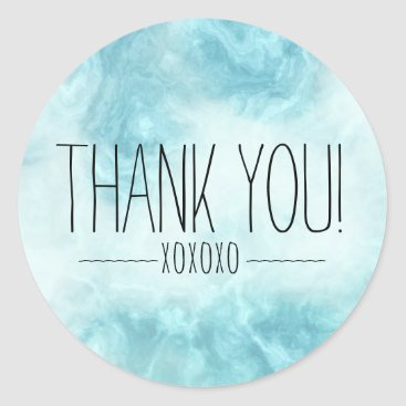 Professional Business Boho Chic Modern Blue Thank You XOXOXO Classic Round Sticker