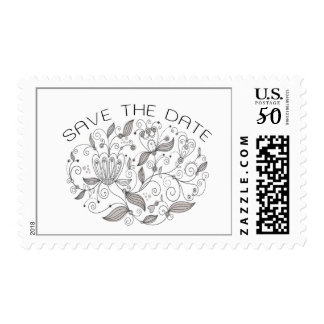 Boho Chic Monochromatic Neutrals Save the Date Postage
