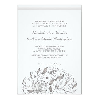 BOHO Chic Monochromatic  Taupe Garden Wedding Card