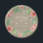 "BOHO Chic Oh Baby Girl Shower Wood Watercolor Paper Plate<br><div class=""desc"">Sweet Baby girl on the way and looking for a Boho Chic Baby shower theme? Hand painted in watercolor by Audrey Jeanne Roberts, these boho style flowers are loose, painterly and bright colors. Mixed with pretty Baby&#39;s breath flowers and leaf foliage for an elegant rustic wreath design with typography style...</div>"