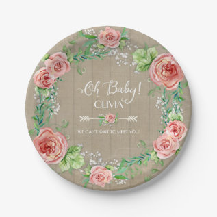Boho Chic Oh Baby Girl Shower Wood Watercolor Paper Plate at Zazzle