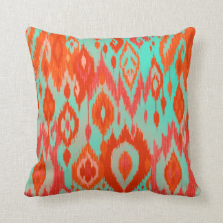 Boho Chic orange red turquoise Ikat Tribe Tapestry Throw Pillow