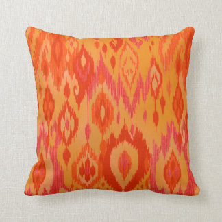 Boho Chic orange saffron red Ikat Tribal Tapestry Pillow