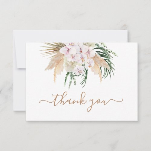 Boho Chic Pampas Grass dried palms thank you Note Card