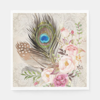 Boho Chic Peacock Feather and Roses Paper Napkin