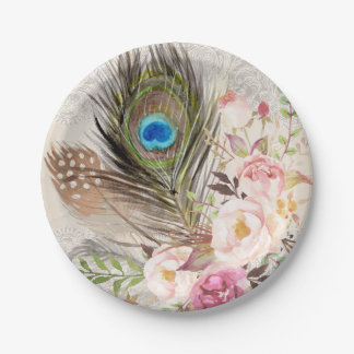 Boho Chic Peacock Feather and Roses Paper Plate