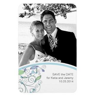 BOHO Chic Photo Save the Date Blue Budget Rectangular Photo Magnet