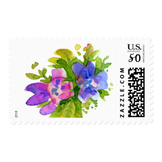Boho Chic Pink & Purple Watercolor Flowers Postage