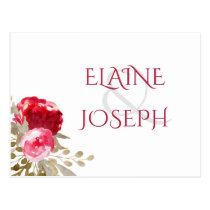 boho chic pretty watercolor floral rsvp postcard
