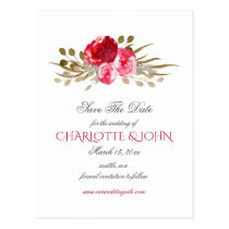 boho chic pretty watercolor floral save the date postcard