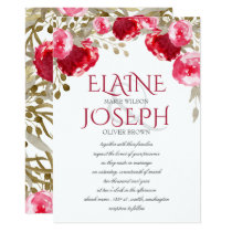 boho chic pretty watercolor floral wedding invites