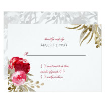 boho chic pretty watercolor floral wedding rsvp card