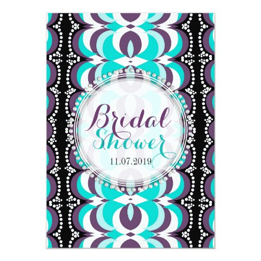 Boho Chic Purple Aqua Bridal Shower Card