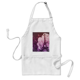 Boho chic purple floral Girly Paris Eiffel Tower Adult Apron