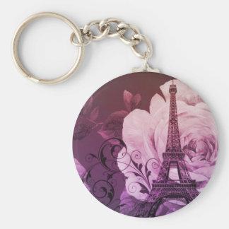 Boho chic purple floral Girly Paris Eiffel Tower Keychain