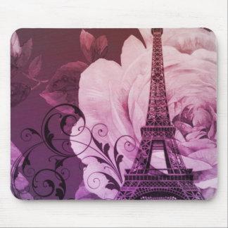 Boho chic purple floral Girly Paris Eiffel Tower Mouse Pad