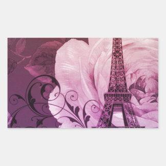 Boho chic purple floral Girly Paris Eiffel Tower Rectangular Sticker