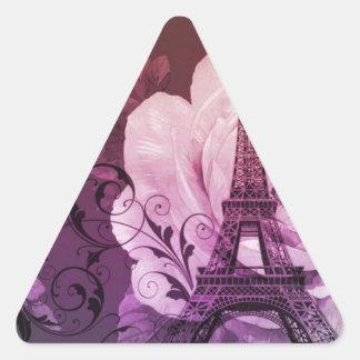 Boho chic purple floral Girly Paris Eiffel Tower Triangle Sticker