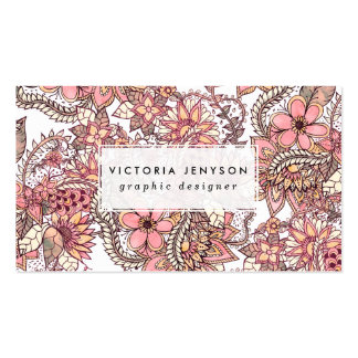 Boho chic red brown floral handdrawn pattern business card