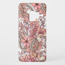 Boho chic red brown floral handdrawn pattern Case-Mate samsung galaxy s9 case