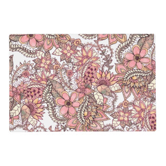 Boho chic red brown floral handdrawn pattern laminated placemat