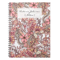 Boho chic red brown floral handdrawn pattern notebook