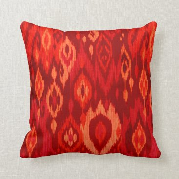 Aztec Themed Boho Chic red burgundy peach Ikat Tribal Tapestry Throw Pillow