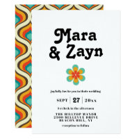 Boho Chic Retro 70's Wedding Invitation