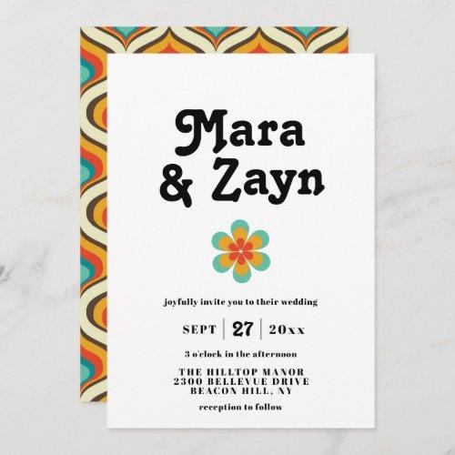 Boho Chic Retro 70s Wedding Invitation