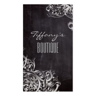 boho chic rustic swirls vintage Chalkboard Double-Sided Standard Business Cards (Pack Of 100)