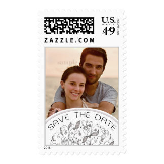 Boho Chic Save the Date Photo Neutral Palette Postage Stamp