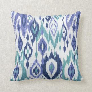 Boho Chic slate aqua icy blue Ikat Tribal Tapestry Throw Pillow