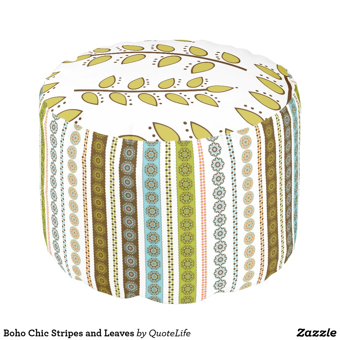 Boho Chic Stripes and Leaves Pouf