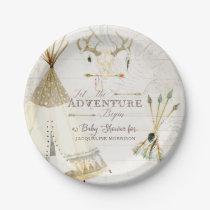 BOHO Chic Teepee Arrows Deer Baby Boy Shower Wood Paper Plate