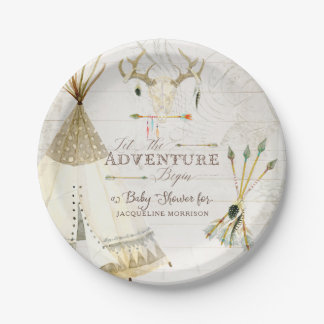 BOHO Chic Teepee Arrows Deer Baby Boy Shower Wood Paper Plate