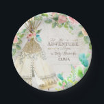 "BOHO Chic Teepee Cactus Baby Girl Shower Wood Art Paper Plate<br><div class=""desc"">Delightful western BOHO Bohemian tribal style for a baby girl on the way and looking for a modern Chic Baby shower theme? Hand painted in watercolor by Audrey Jeanne Roberts. A collage style typography layout that features the pink roses and boho style flowers, are mixed with a teepee, cactus and...</div>"