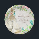 """BOHO Chic Teepee Cactus Baby Girl Shower Wood Art Paper Plate<br><div class=""""desc"""">Delightful western BOHO Bohemian tribal style for a baby girl on the way and looking for a modern Chic Baby shower theme? Hand painted in watercolor by Audrey Jeanne Roberts. A collage style typography layout that features the pink roses and boho style flowers, are mixed with a teepee, cactus and...</div>"""