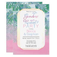 Boho Chic Tropical Beach Watercolor Gender Reveal Card
