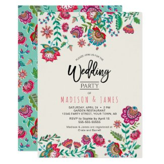 Boho Chic | Turquoise | Folk Flowers |  Wedding Invitation