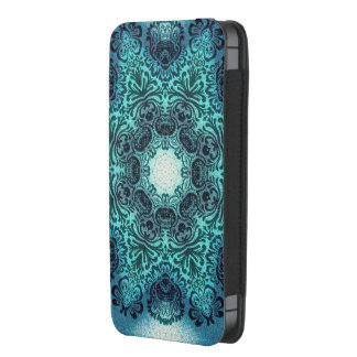 boho chic vintage girly pattern teal lace iPhone 5 pouch