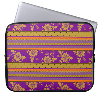 Boho Chic Violet Mustard Yellow Floral Pattern Computer Sleeve