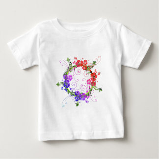 Boho Chic Warm and Cool Floral Wreath Pattern Baby T-Shirt