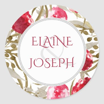 boho chic watercolor floral wedding stickers