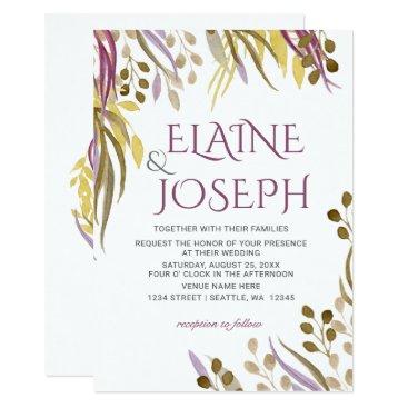 boho chic watercolor foliage wedding invites
