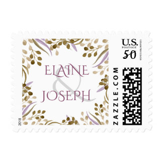 boho chic watercolor foliage wedding postage