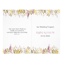 boho chic watercolor foliage wedding programs