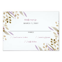 boho chic watercolor foliage wedding rsvp card