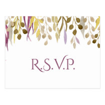 boho chic watercolor foliage wedding rsvp postcard