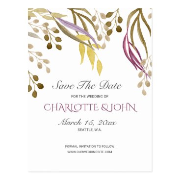 boho chic watercolor foliage wedding save the date postcard
