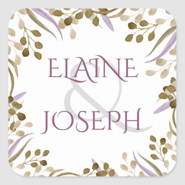 boho chic watercolor foliage wedding stickers